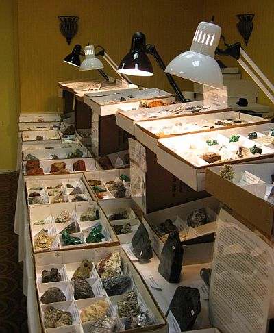 Mineral display at the Western Mass. Mineral, Jewelry & Fossil Show